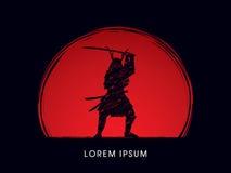 Ратник самураев с шпагой иллюстрация вектора