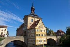 Ратуша в Бамберг, Бавария моста Стоковое Фото