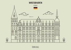 Ратуша в Висбадене, Германии Значок ориентир ориентира стоковые изображения rf