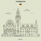 Ратуша в Saarbrucken, Германии Значок ориентир ориентира стоковое фото