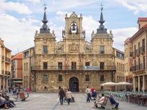 Ратуша на главной площади - Astorga стоковое изображение