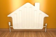 Радиатор подогревателя на желтой стене в доме 3d бесплатная иллюстрация