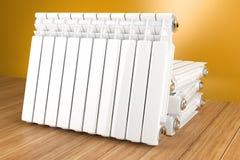 Радиатор подогревателя на желтой стене в доме 3d иллюстрация вектора