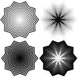 Радиальный, концентрический комплект формы Абстрактные monochrome графики Стоковое Фото