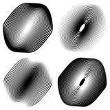 Радиальный, концентрический комплект формы Абстрактные monochrome графики Стоковые Изображения