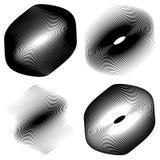 Радиальный, концентрический комплект формы Абстрактные monochrome графики Стоковая Фотография