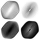 Радиальный, концентрический комплект формы Абстрактные monochrome графики Стоковое фото RF
