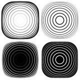 Радиальный, концентрический комплект формы Абстрактные monochrome графики Стоковые Фото