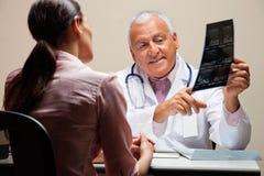 Радиолог объясняя рентгеновский снимок к пациенту стоковое фото
