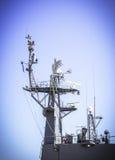 Радиолокатор на линкоре Стоковая Фотография