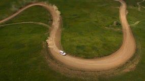 Ралли автомобиля взгляд сверху Стоковое Изображение