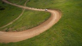 Ралли автомобиля взгляд сверху Стоковые Изображения RF