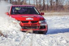 Ралли автомобиля зимы Стоковая Фотография
