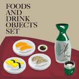 Ради еды & суш питья установленное Стоковое фото RF