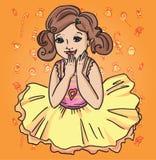 Радостная девушка в юбке Стоковые Фотографии RF