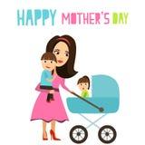 Радостная мать идет с детьми вектор Стоковое Изображение