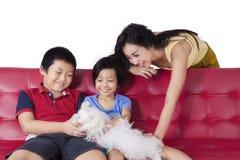 Радостная семья играя мальтийсную собаку на софе Стоковое Фото