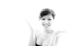 Радостная, удивленная женщина План с эмоциональной, чувственной моделью Стоковые Изображения