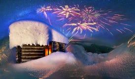 Радостно встретьте зимние отдыхи в горах иллюстрация вектора