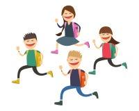 Радостные дети идут к школе Старт года также вектор иллюстрации притяжки corel Стоковые Изображения RF