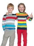 Радостные дети на белой предпосылке Стоковые Фотографии RF