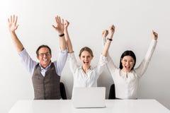 Радостные приятные коллеги празднуя успех Стоковая Фотография RF