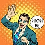 Радостный бизнесмен высокие 5 Стоковая Фотография