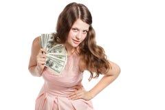 Радостный девочка-подросток с долларами в ее руках Стоковое Изображение RF