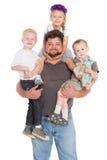 Радостный отец с его детьми Стоковая Фотография RF