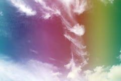 Радуга, абстрактная текстура предпосылки облаков цирруса Стоковые Фотографии RF