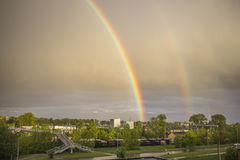 Радуга весны после большого дождя Стоковая Фотография RF