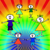 радуга детей счастливая Стоковая Фотография RF