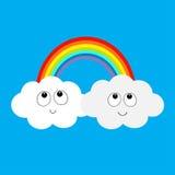 Радуга и 2 облака в небе усмехаться стороны счастливый Милый персонаж из мультфильма Близнецы cloudshape штрихового пунктира бума бесплатная иллюстрация