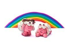 Радуга и 2 овцы пластилина Стоковое Фото