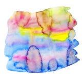 Радуга красит предпосылку акварели Краски акварели яркие freehand Стоковое фото RF