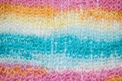 Радуга красит предпосылку, вязать конец текстуры шерстей вверх Стоковое Изображение