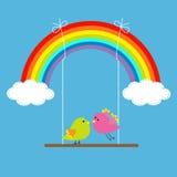 Радуга, 2 облака в небе и птицы на качании. Li черточки иллюстрация вектора