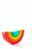 Радуга, пестротканая деревянная игрушка eco На белизне Стоковая Фотография
