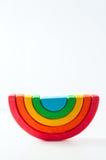 Радуга, пестротканая деревянная игрушка eco На белизне Стоковые Изображения