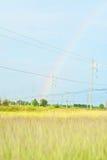 Радуга после дождя в поле Стоковая Фотография