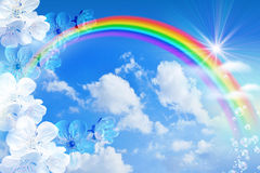 Радуга против неба Стоковые Фото