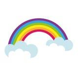 Радуга, стиль значка плоский Символ дня ` s St. Patrick На белой предпосылке также вектор иллюстрации притяжки corel Стоковое Изображение