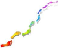 Радуга следов ноги Стоковая Фотография