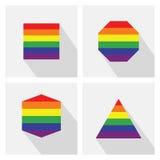 Радуга формирует значки цвета флагов установленные с длинной тенью Стоковое фото RF