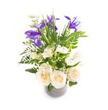 Радужки букета, розы, папоротник тюльпанов Стоковая Фотография