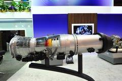 Реактивный двигатель Pratt & Whitney F135 для F-35 реактивного истребителя молнии II на дисплее на Сингапуре Airshow Стоковые Изображения RF