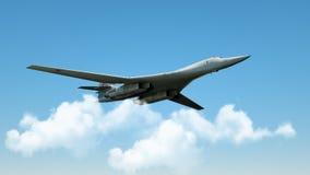 Реактивный истребитель Aarmed воинский в полете на cloudly предпосылку неба 3d представляют стоковое изображение rf