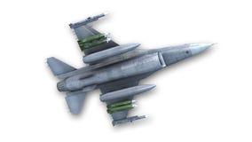Реактивный истребитель боя, военный самолет, нижний взгляд Стоковые Изображения