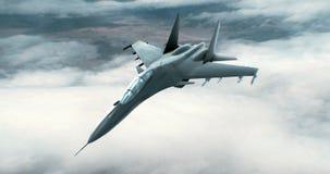 Реактивный истребитель летая высоко над облаками иллюстрация штока