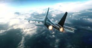 Реактивный истребитель летая высоко над облаками иллюстрация вектора